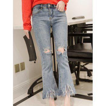 Ripped Tassels Boot Cut Jeans
