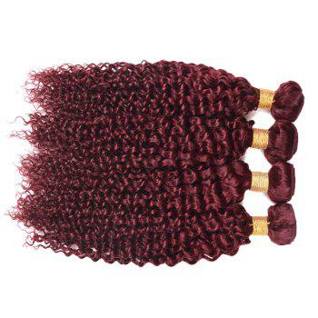 1 Pc 6A Virgin Brazilian Bouncy Kinky Curly Hair Weaves - WINE RED WINE RED