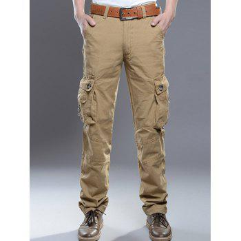 Zipper Fly Pockets Embellished Plus Size Cargo Pants