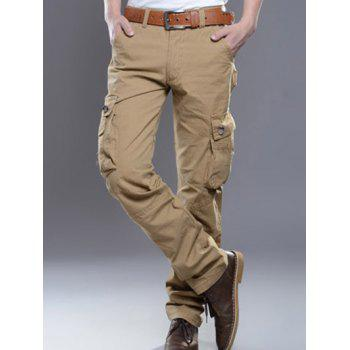 Zipper Fly Pockets Embellished Plus Size Cargo Pants - KHAKI 30