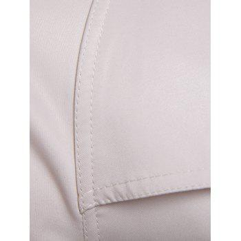Epaulet Double-Breasted PU-Leather Belt Embellished Trench Coat - OFF WHITE OFF WHITE