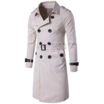 Epaulet Double-Breasted PU-Leather Belt Embellished Trench Coat - OFF-WHITE OFF WHITE