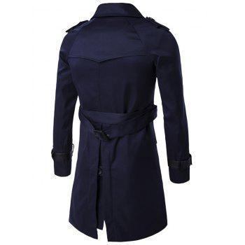 Epaulet Double-Breasted PU-Leather Belt Embellished Trench Coat - M M