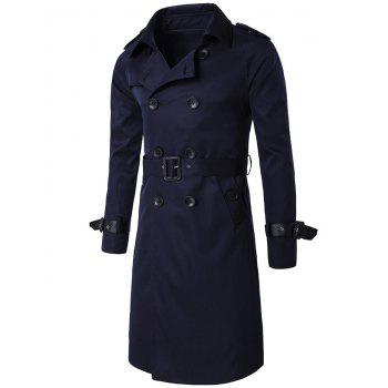 Epaulet Double-Breasted PU-Leather Belt Embellished Trench Coat - CADETBLUE M
