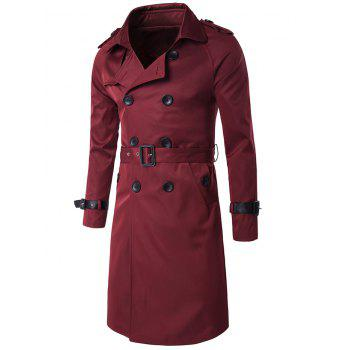 Epaulet Double-Breasted PU-Leather Belt Embellished Trench Coat - WINE RED WINE RED