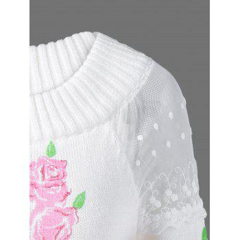 Lace Floral Print Pullover Sweater - ONE SIZE ONE SIZE