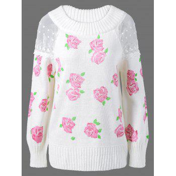 Lace Floral Print Pullover Sweater - WHITE ONE SIZE