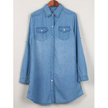Shirt Neck Long Denim Shirt - LIGHT BLUE L