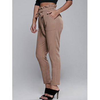 High Waisted Belted Slimming Narrow Feet Pants - S S