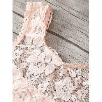 Round Neck Lace Crop Tank Top - APRICOT M