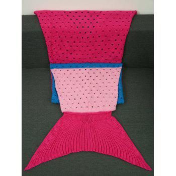 Comfortable Color Block Crochet Knitting Mermaid Tail Blanket For Kids - M M