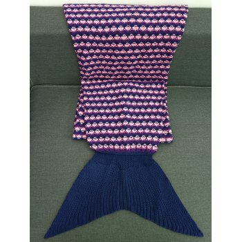 Comfortable Printing Design Crochet Knitting Mermaid Blanket For Kids - PURPLISH BLUE M