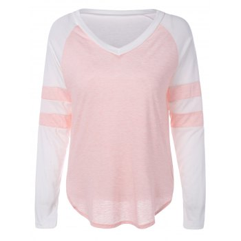 Color Block Panel Raglan Sleeve T-Shirt - PINK S