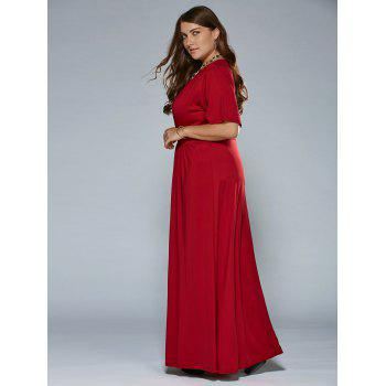 Ruched V Neck Maxi Prom Dress - 3XL 3XL
