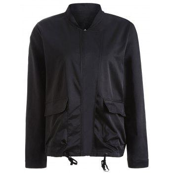 Autumn Drawstring Pockets Satin Bomber Jacket - BLACK BLACK