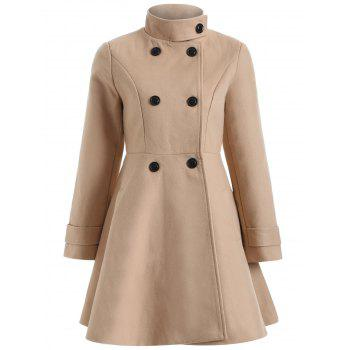 Warm Double-Breasted Felt Trench Coat - CAMEL M