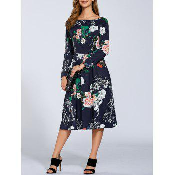 Boat Neck Long Sleeve Floral Midi Dress