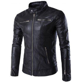 Zip Pocket Stand Collar Faux Leather Moto Jackets - BLACK BLACK