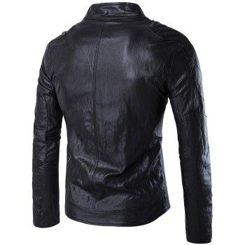 Zip Pocket Stand Collar Faux Leather Moto Jackets - M M