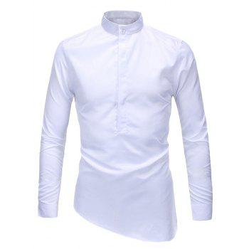 Slim-Fit Stand Collar Half Button Up Shirt