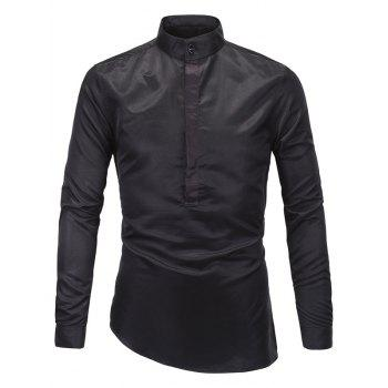 Slim-Fit Stand Collar Half Button Up Shirt - BLACK M