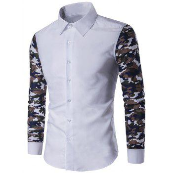 Button Up Camouflage Sleeve Shirt - WHITE WHITE
