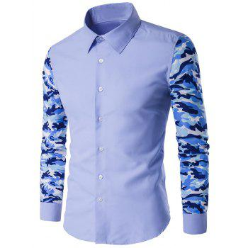 Button Up Camouflage Sleeve Shirt