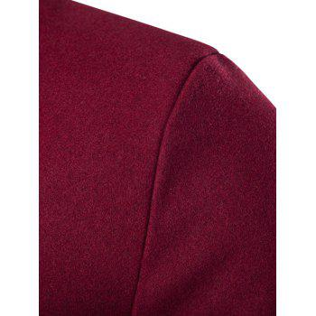 Slim-Fit Wool Blend Stand Collar Coat - WINE RED WINE RED