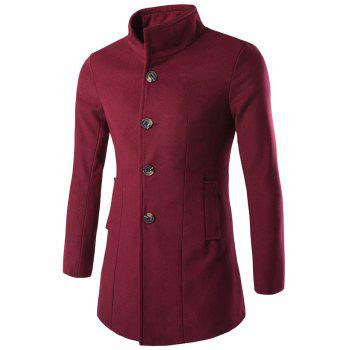 Slim-Fit Wool Blend Stand Collar Coat - WINE RED M