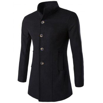 Slim-Fit Wool Blend Stand Collar Coat - BLACK M