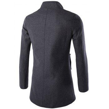 Slim-Fit Wool Blend Stand Collar Coat - GRAY GRAY