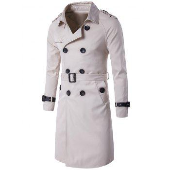Notched Collar Double Breasted Trench Coat - OFF-WHITE 2XL