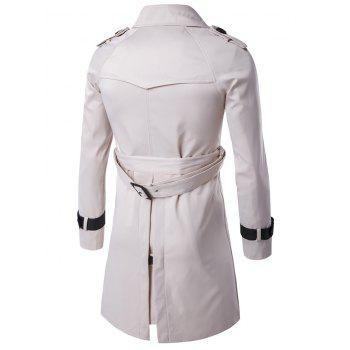 Notched Collar Double Breasted Trench Coat - OFF WHITE OFF WHITE