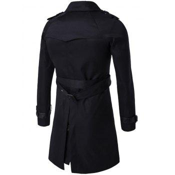 Notched Collar Double Breasted Trench Coat - L L