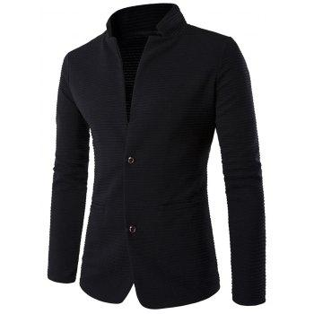 Stand Collar Applique Sleeve Textured Blazer
