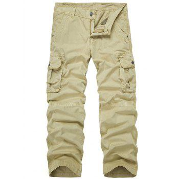 Zip Fly Multi-Pocket Straight Leg Cargo Pants - LIGHT KHAKI LIGHT KHAKI