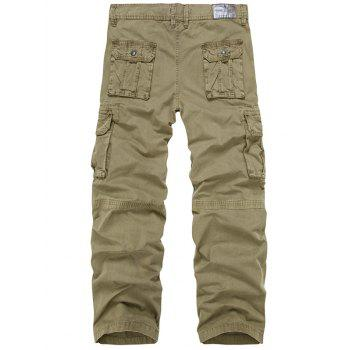 Zip Fly Multi-Pocket Straight Leg Cargo Pants - DARK KHAKI DARK KHAKI