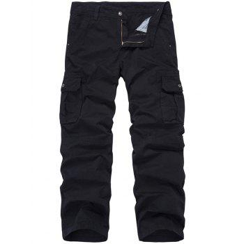 Zip Fly Multi-Pocket Straight Leg Cargo Pants - BLACK 34