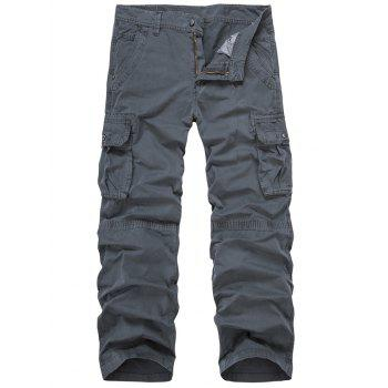 Zip Fly Multi-Pocket Straight Leg Cargo Pants