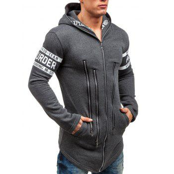 Letter Print Zipper Embellished Zip Up Hoodie - L L