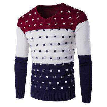 Color Block Geometric Pattern V-Neck Sweater - WINE RED WINE RED