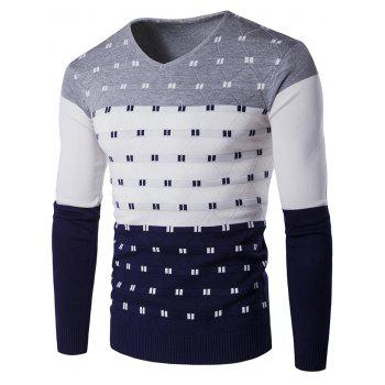 Color Block Geometric Pattern V-Neck Sweater
