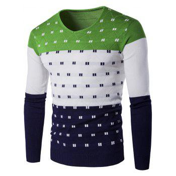 Color Block Geometric Pattern V-Neck Sweater - GREEN M
