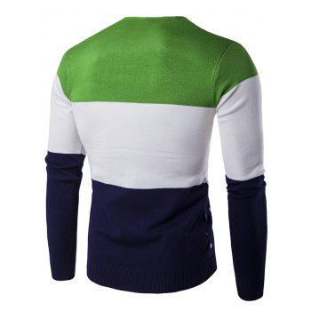 Color Block Geometric Pattern V-Neck Sweater - GREEN GREEN
