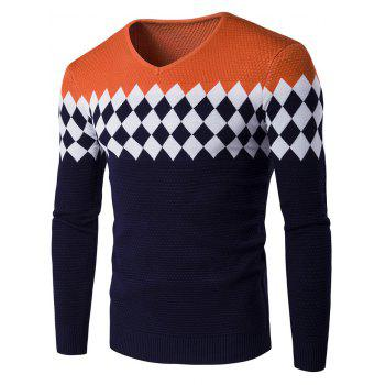 Color Block Rhombus Pattern V-Neck Sweater