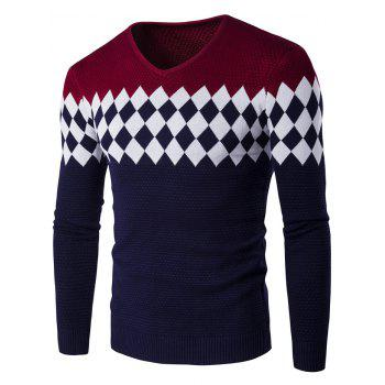 Color Block Rhombus Pattern V-Neck Sweater - WINE RED WINE RED