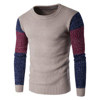 Color Block Crew Neck Space Dyed Sweater - KHAKI M