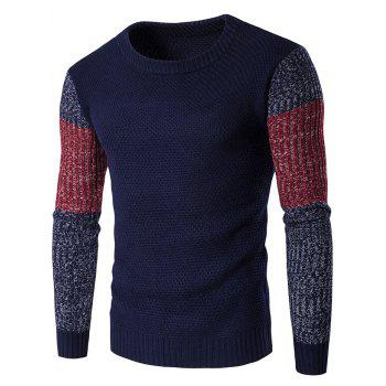 Color Block Crew Neck Space Dyed Sweater - CADETBLUE L