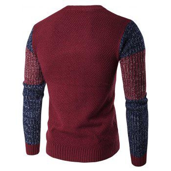 Color Block Crew Neck Space Dyed Sweater - WINE RED WINE RED