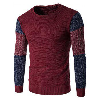 Color Block Crew Neck Space Dyed Sweater